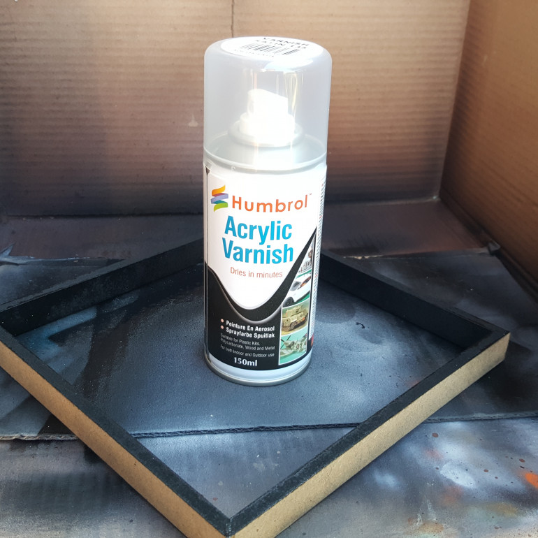 Splash of varnish to protect the paint.