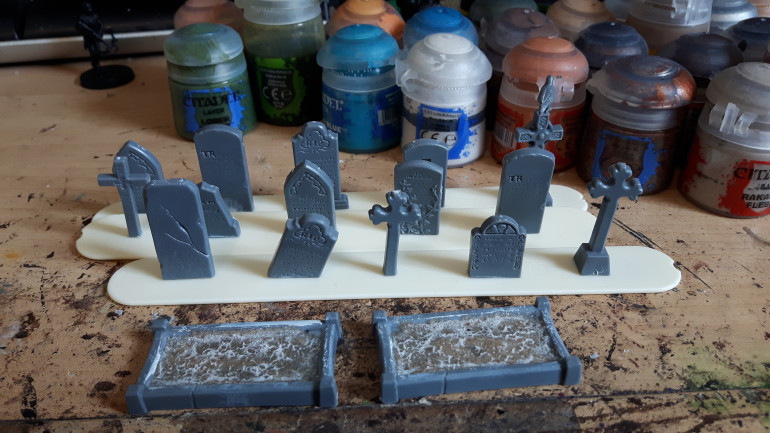 More gravestones built. I've run out again.  I think I've put the super glue on a bit thick, it's gone a bit white.