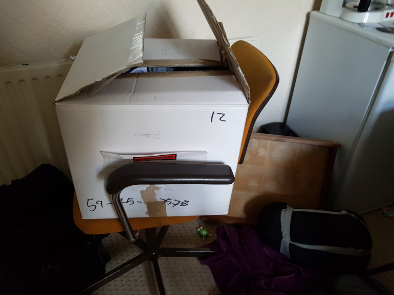The Box.  I managed to get it all in there, but the lid isn't going to close all the way without something breaking!