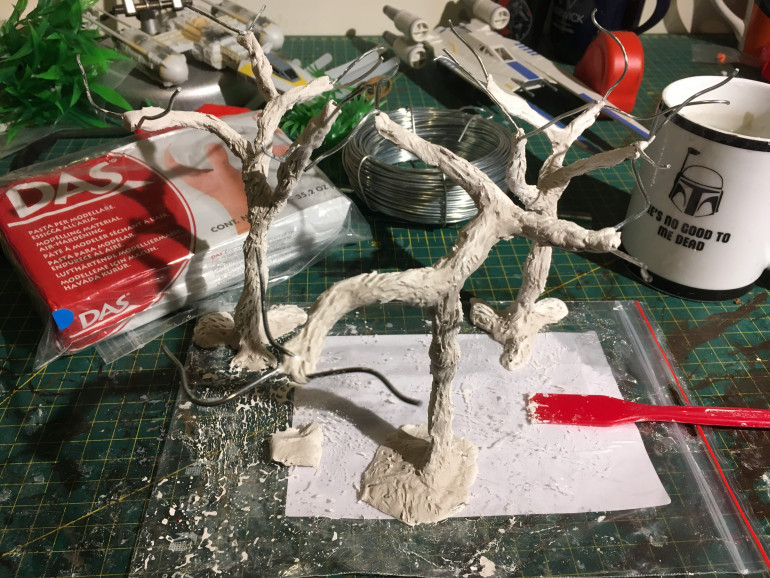 Wire tree with bark added in DAS