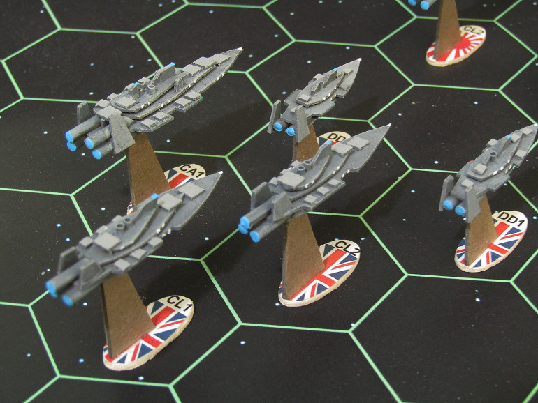 Port quarter close up of British heavy cruiser task force (about 320 points, if ships are all