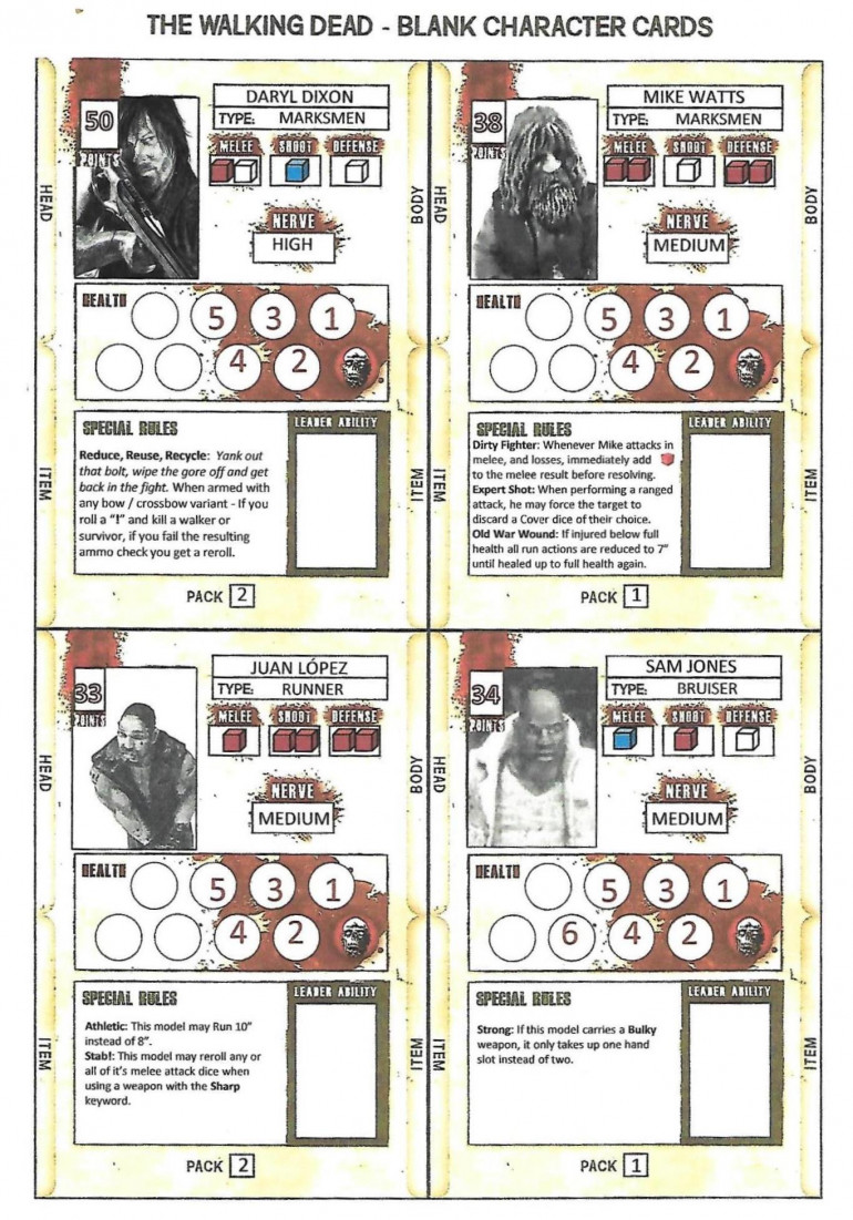 Power Point Character Cards