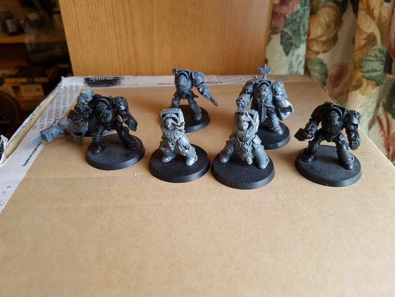 Terminators(?) already on bases.  Some have braids and claws.  I assume this means I bought a Space Wolves army?