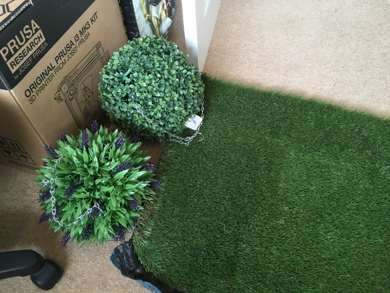 Two hanging balls for £9-11 each and some offcut of fake turf (spoiler image! I also have got a 3D printer now!)