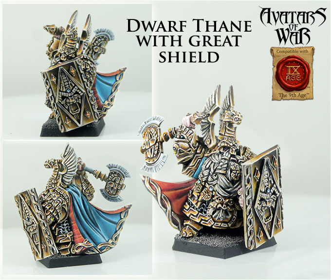 Dwarf Thane With Great Shield - Avatars Of War