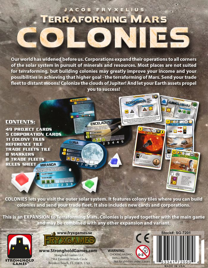 Terraforming Mars Colonies (Back) - Stronghold Games
