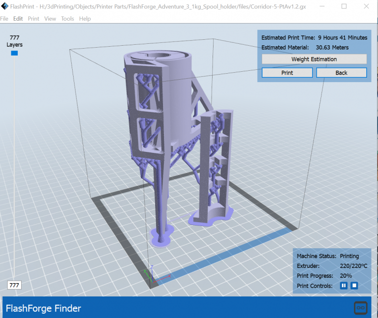 FlashPrint Buid Estimate for a 1KG spool adaptor for the FlashForge Adventurer 3