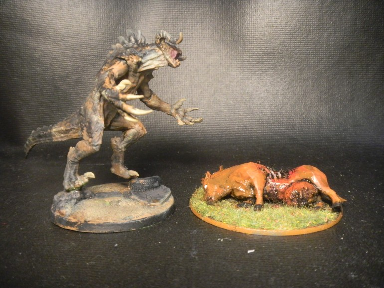 while painting my FWW miniature i remember brahmin model i have had a chance to 3d print PVC Deathclaw model