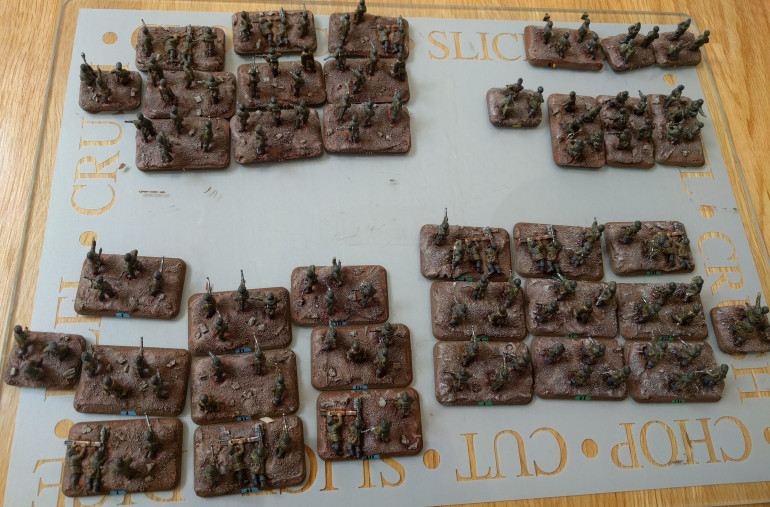 The infantry platoons ready for their varnish