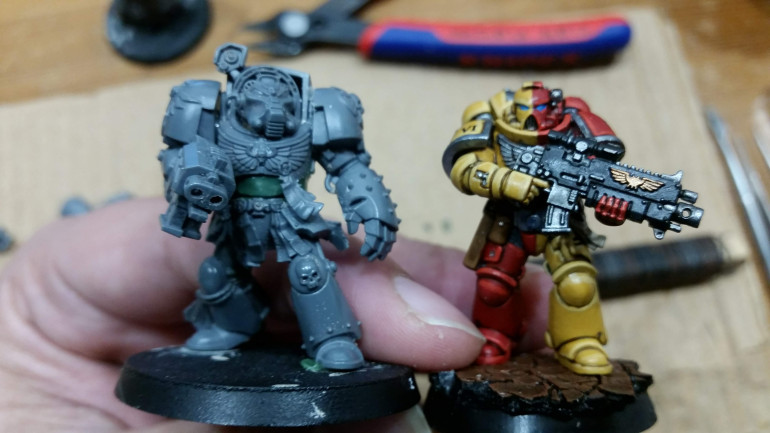 My scaled up test Terminator next to a Primaris Marine.