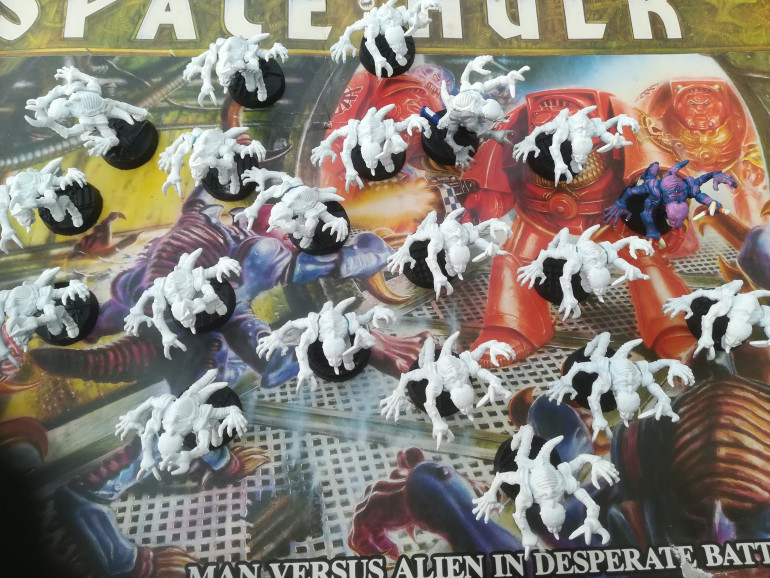 The genestealers came in the box primed white. All 20 miniatures are the same pose but I am going to keep these as my tyranid force. I am going to put them on some new resin bases and prime them black for a new paint job.