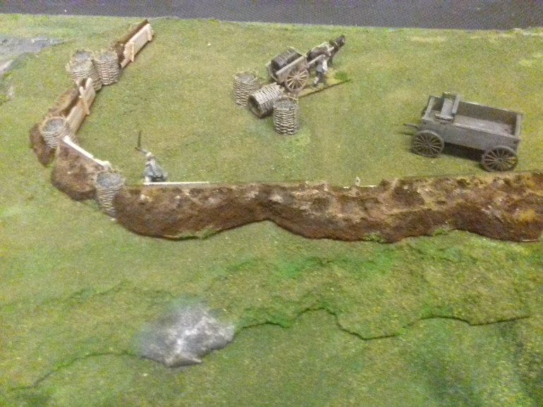 The finished painted up sponge redoubts on the hill. I think it's worked well. Just need to finish the troops to man the position.