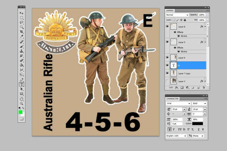 Here's the existing Commonwealth template counter for a full rifle squad (here set up for Australians).  I'm not a fan of the front figure, I'm going to change it out.
