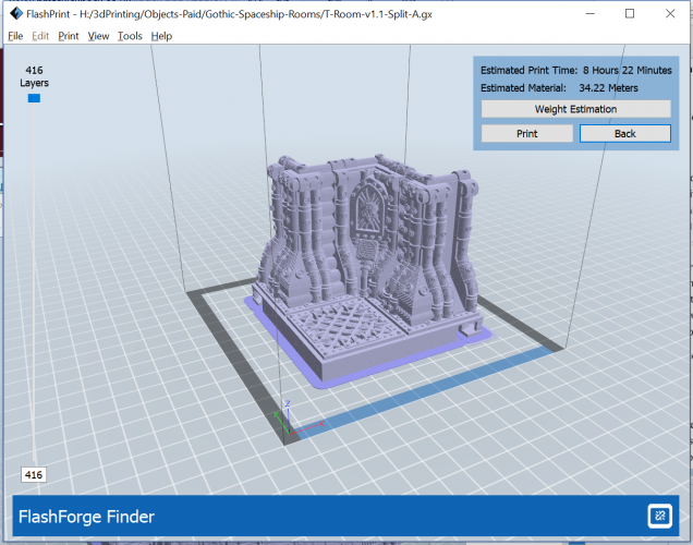 Flash Print Build Estimate for the first Room Piece