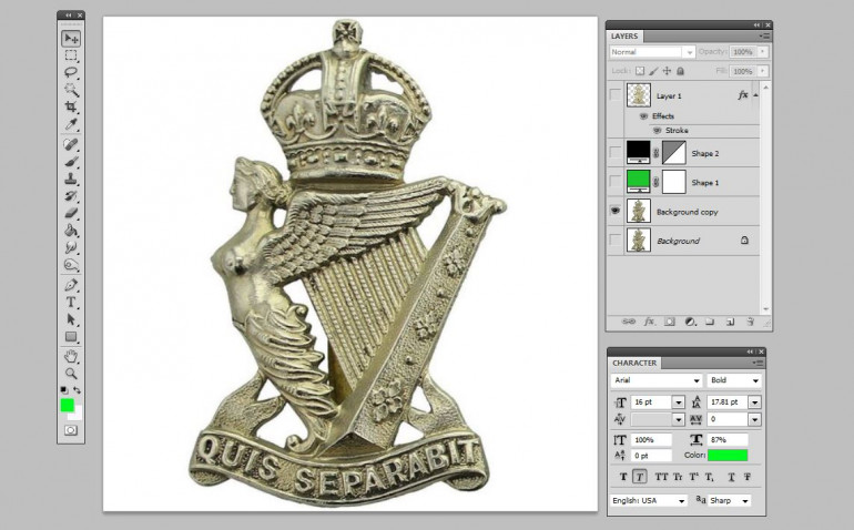First, find the badge for the Royal Ulster Rifles.  Hard-core historians will note that most of these regiments were actually disbanded in February / March 1918, when 36th Ulster was reorganized after their terrible losses of Flanders / Passchendaele 1916-1917.  Some were sent back to reserve brigades in Britain.  Others were folded into the remaining battalions.