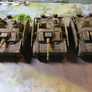 All three new StuGs are ready to deploy. The only thing missing is their support Infantry