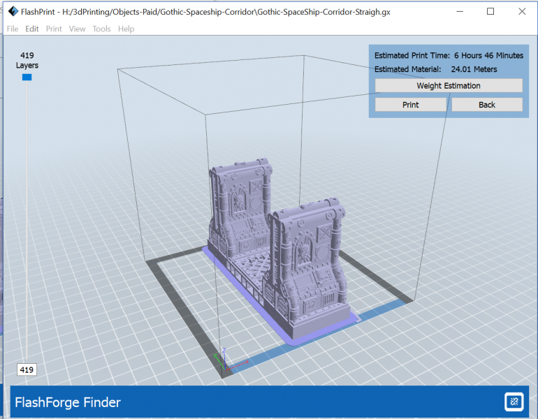Flash Print build estimate for single square corridor