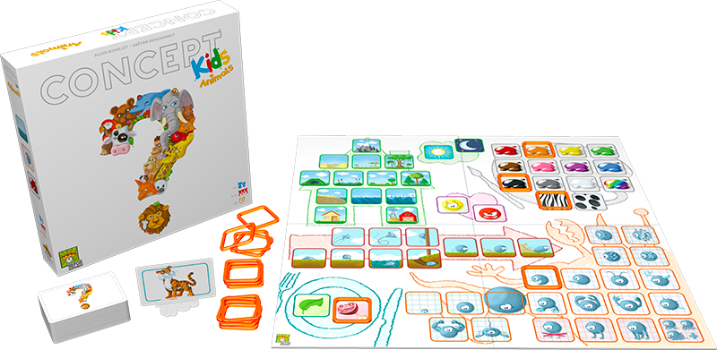 create childish charades in concept kids animals