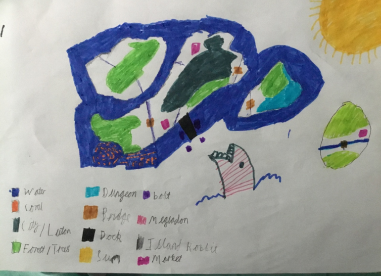 This is the map created by my son. I will be turning it into a world map, just to get a bit more of the scale and proportion into it. But essentially it will be staying the same.