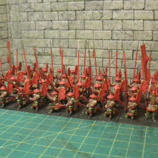 Finished painting my 40 Ashigaru block