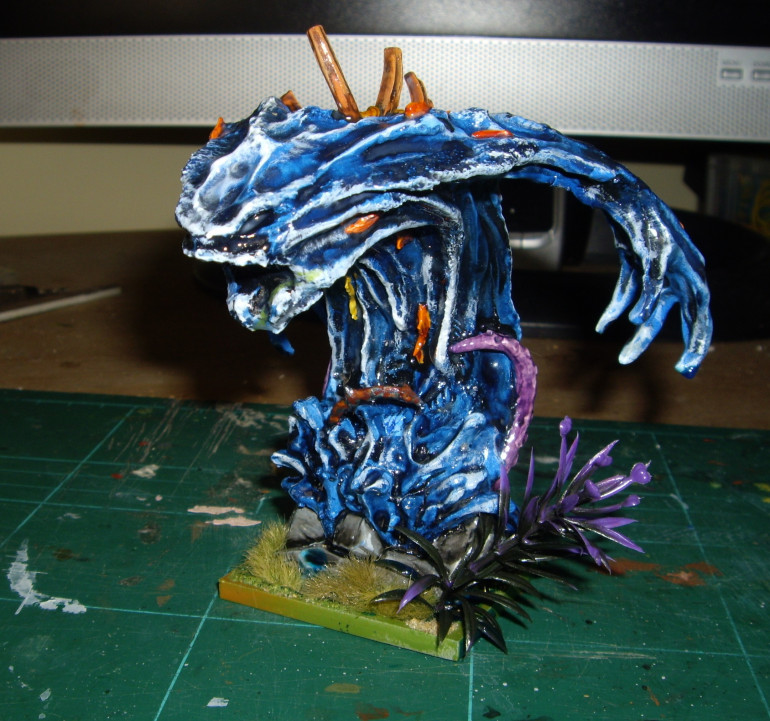 Greater Water Elemental, Done in a similar way to the water elementals.  Resin didnt work well as most escaped when I left the model on it's side so I used Tufts to hide this,
