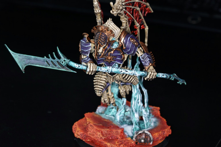"""For this Harbinger wanted to try to simulate """"it"""" being summoned from the rift below. Quite enjoyed painting this and was was good practice as a medium sized model before working on Nagash himself and a zombie dragon."""