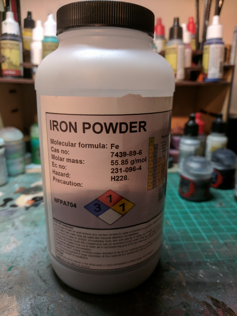 Another thing about iron powder, it oxidised incredibly fast. Mixing some iron powder with some PVA glue and water makes a decent fine texture paste which starts to take on a natural rusty look within hours of application.