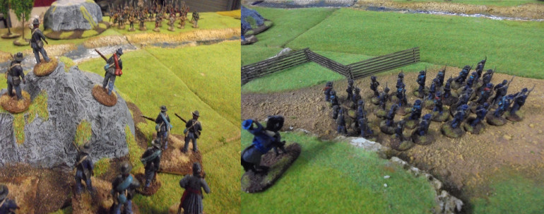 Riflemen on the Knoll and Marshall's men on the march