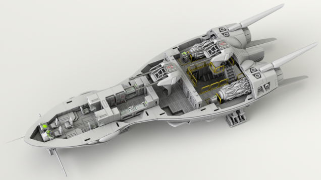 A render of the default layout of the scout ship.