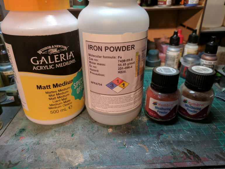 The base components to my rust paint mixture.