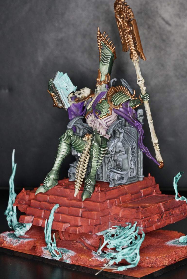 Side view to show the throne... needs more spirits at least.  The throne is on stone which I carried out matching color of the bloodsand base... but the red is quite dominant... that vampire harem might break up the uniformity a bit...