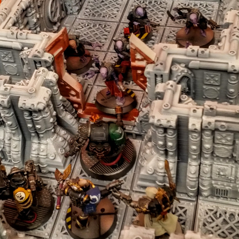 Deathwatch Overkill minis on the Space Hulk terrain