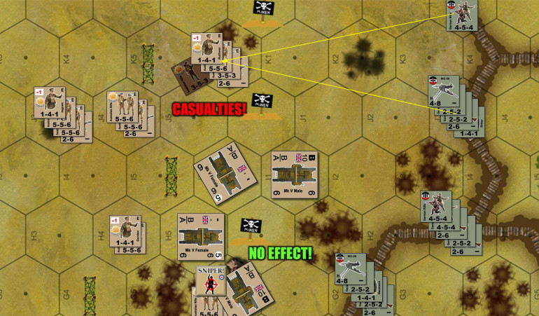 North wing of the Australian assault.  Firegroups based on German MG fire (assisted by direction of German officers) actually don't do very much damage up here.  Australians are making the most of the craters where they can (+1 to APFP fire checks) and I'm counting tanks as a V&V