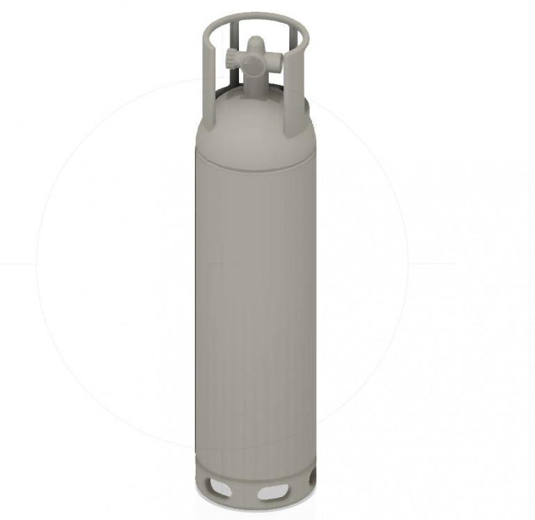 Image of the gas bottle I drawn This is 29mm tall by 7mm in thichness. It's designed to be hollow to save resin.