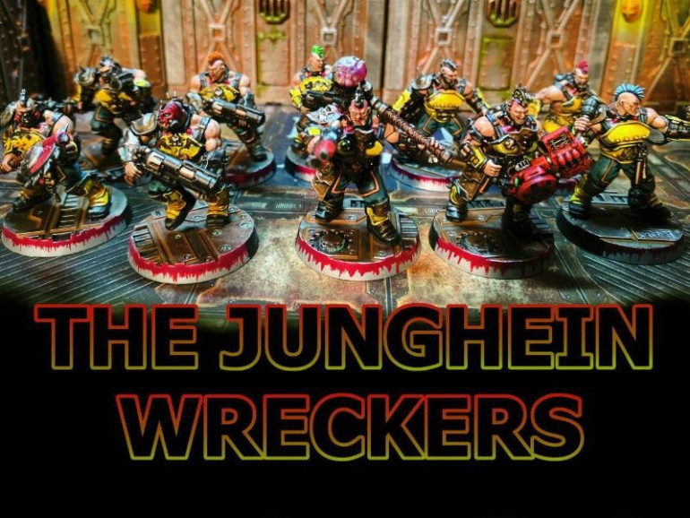 The Group shot of the Junghein Wreckers, named after a heavy machinery company called Jungheinrich, in keeping with the name i wanted to paint them up in the colour scheme of heavy industrial machinery so lots of yellow, black and red.