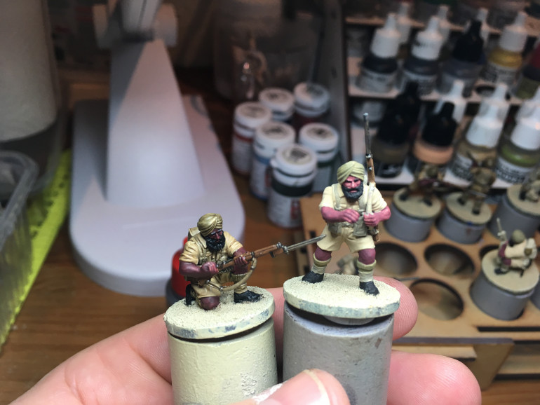 First squad is on its way. Here's just a shot to show you the difference before and after the Soft Tone is applied. Next step: tidy things up and highlight.