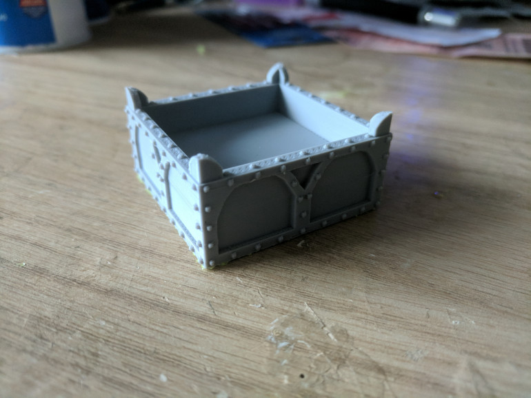 I put together a simple box and added in some Gothic flourishes, some arches, raised corners and of course lots of rivets.