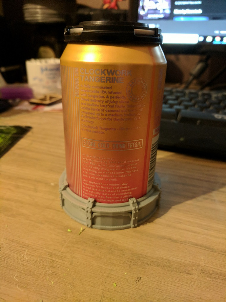 The can and base together, things are looking good so far.