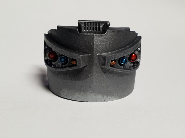 A shot of the eye lenses before they get buried behind the mask
