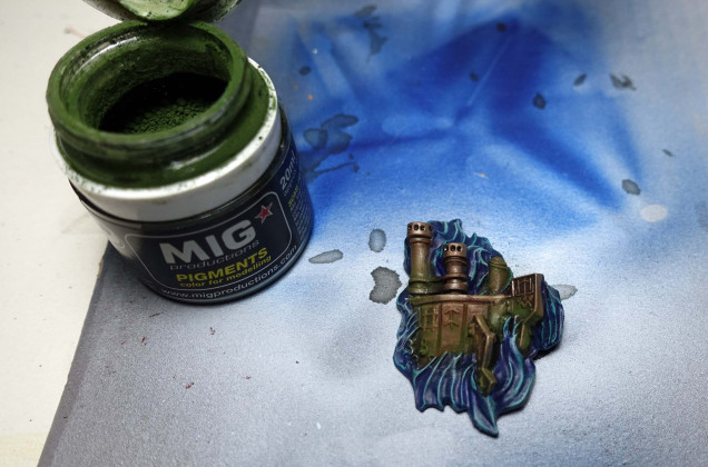To create the impression of algae having formed on the wreck over the years: Mig Faded Green