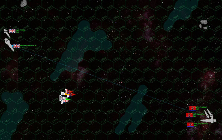 "Damon keeps playing hard to get.  The range is now ""down"" to 20 hexes, 3600 kilometers.  All this time, Damon's been trying to hit the smallest ship in my fleet, the frigate Khangta.  This is to maybe score an ""easy"" early kill, knocking down my firepower a little before the two sides really come to grips, and reducing the number of torpedoes I can throw at him in one turn.  Besides, as Damon learned to his cost last week, once these ships get close, there's practically no way a heavy cruiser can get frigates or corvettes off her stern."
