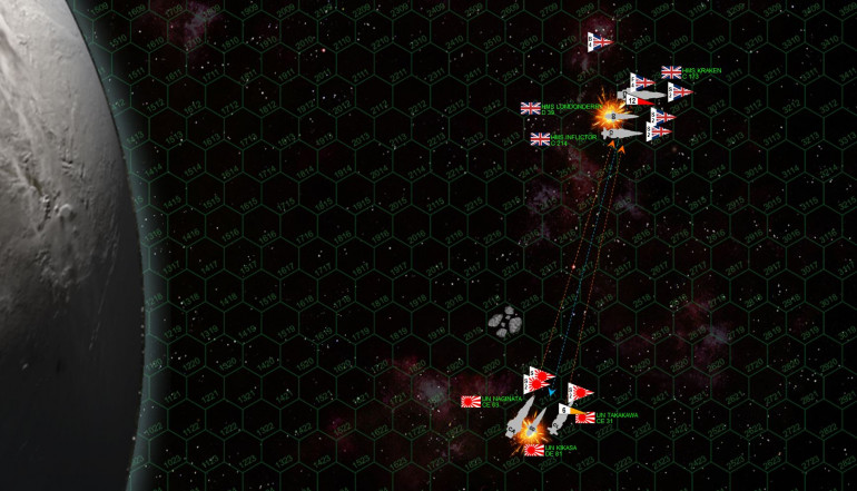 Zooming in a little, we see the initial exchanges of fire.  The firepower is terrifyingly accurate, so many of these ships have upgraded guns, upgraded targeting systems, elite gunnery crews, electronic warfare, but also enhanced ECM and gravitic shielding.  Commanders, crews, and ships on this level play for keeps, and that is apparent right off the bat as on the fire phase of Turn 01, both task forces smash the other's destroyer out of the battle.  HMS Londonderry and IJN Kikasa are both blow open, set afire, and now adrift and out of control in space.