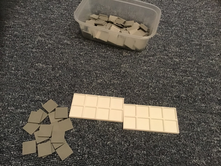 So that's my 20 x 20 x 2mm bases sorted and some printed and some 8 man movement bases printed, next stop build some troops