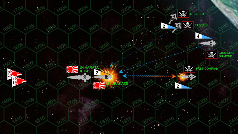 The fire phase of Turn 1.  The Pirate approach, while awesome, wasn't quite perfect, as those two gunboats are JUST out of position to hit the stern of the frigate Urakaze, their forward weapons will instead hit the starboard quarter.  Still, forward pirate guns hammer the Urakaze's fantail.  They are MURDEROUSLY accurate with +3 CICs, but they have very few weapons and they are very light.  This disadvantage is further exacerbated by the f act that only forward-mounted pirate weapons can fire.  But the pirates get solid hit locations, and manage to shut down the Urakaze's engines and set  her adrift and crippled in space.  Meanwhile, the Urakaze has NO aft-mounted weapons (as a strike frigate, everything is mounted forward).  So she actually never fires a shot in response.  The larger destroyer Harata, however, hits the Fast Company with aft 40KG plasma projector and 5GW rail  guns, all but blowing off the front half of this very small ship.