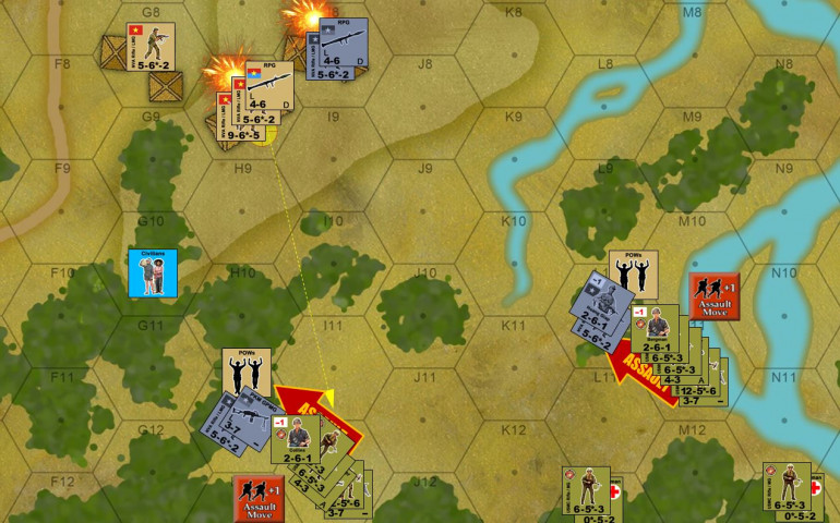 With NVA units in the south having failed to rally from Marine defensive fire in Turn 1, plus the mortar barrages, the Marines are thus ready to launch a few