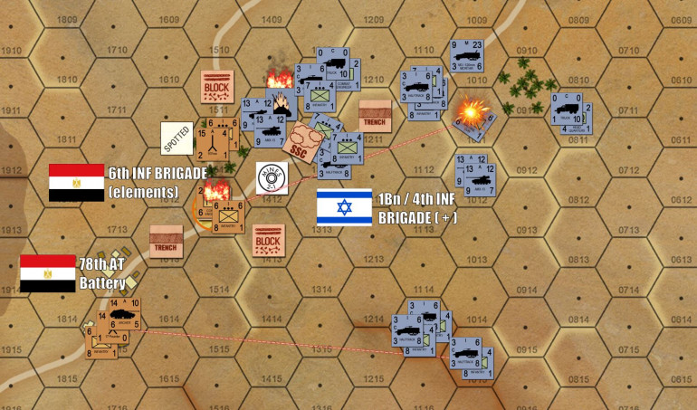 Contact is made and, man, things get messy fast.  The Israelis are killing Egyptian infantry platoons well enough, but I have additional security and engineer units stacked up in secondary positions that can take their place, assuming I don't lose the whole objective hex AT ONCE so Damon has a chance to occupy it.  I'm losing men fast, but perhaps more importantly, Damon is losing TIME.