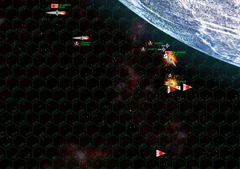 It's something of a miracle, but the Urakaze wins initiative against the Fast Company.  The Japanese fighters fire their missiles, while six Class V Torpedoes sail in against the Urakaze.  She shoots down four of them, but two hits,plus the small lasers of the Razor III and the Stiletto, are more than enough to leave her crippled.  Meanwhile, the Fast Company, Razor III, and Stiletto shoot down all the Japanese torpedoes and fighter missiles, but the forward gunnery of the Akashi-class strike frigate is enough to knock down the Fast Company's engines.