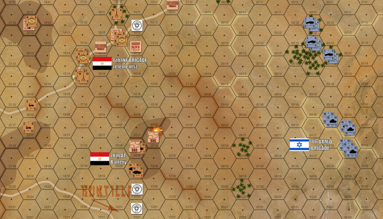 Further south, the M1 and M50 Shermans of 7th Armored are trundling toward my Archer tank destroyers of the 78th AT Artillery Battery.
