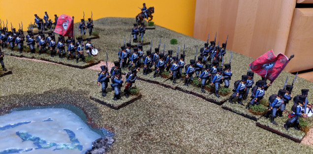Two battalions musketeers and one battalion fusiliers acting as skirmishers