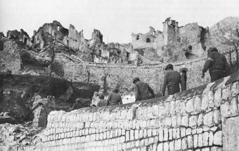 US Troops in the captured town of San Pietro Infine